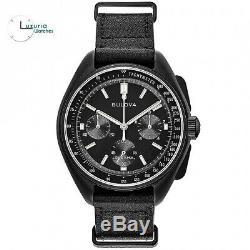 Bulova Special Edition Lunar Pilot Black Leather NATO Strap 98A186 Mens Watch