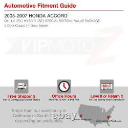 For 03-07 Honda Accord V6 L4 2/4DR Black Crystal Headlight Lamp LH+RH assembly