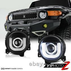 For 07-15 Toyota Fj Cruiser TRD Black Projector Headlight Left+Right Assembly