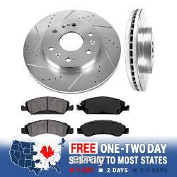 Front Drill And Slot Brake Rotors & Ceramic Brake Pads For Chevy Cadillac GMC