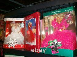 Lot of 1988 1998 Happy Holiday Barbies Complete Set FREE SHIPPING