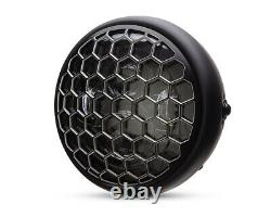 Motorcycle Headlight LED 7.7 with Honeycomb Grill Cafe Racer & Scrambler