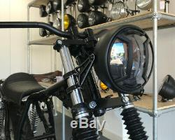 Motorcycle LED Headlight 7.7 with Armour Grill Retro Cafe Racer & Scrambler