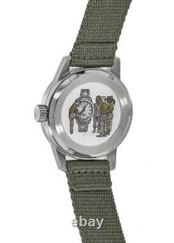 New Bulova Special Edition Black Dial Green Fabric Strap Men's Watch 96A259