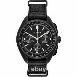 New Bulova Special Edition Lunar Pilot Black Chronograph Men's Watch 98A186