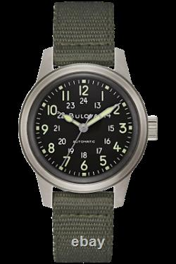New Bulova Vwi Special Edition Hack Field 38mm Stainless Steel Case 96a259
