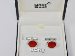 New Montblanc Red Silver Round Circular Cufflinks Special Edition