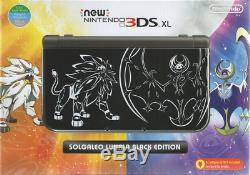 New Nintendo 3DS XL Pokemon Sun & Moon Solgaleo Lunala BLACK NN3DS XL Console