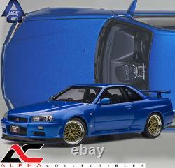 P AUTOART 77409 118 NISSAN SKYLINE GT-R (R34) V-SPEC II With BBS LM WHEELS (BLUE)