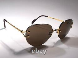 Vintage Cartier Salisbury Rimless Gold Special Edition Brown Lens Sunglasses